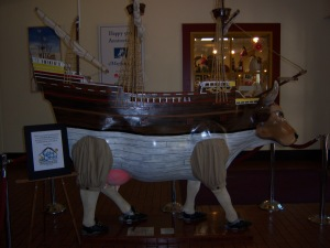 Large cow carrying a ship in the visitor's center. Why? Don't ask me.